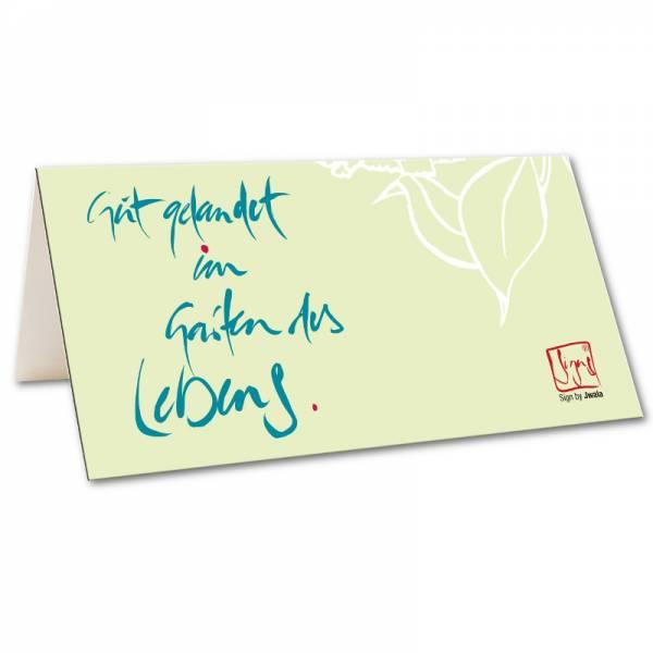 """Klappkarte """"Gut gelandet im Garten des Lebens"""""""