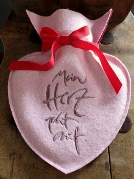 """Herz-Wärmflasche """"Mein Herz geht auf"""" Rosa"""